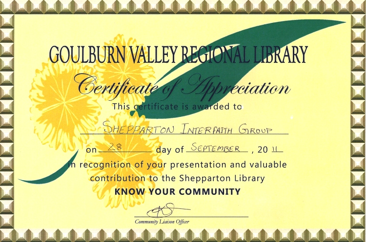 Appreciation by Goulburn Valley Regional Library Service