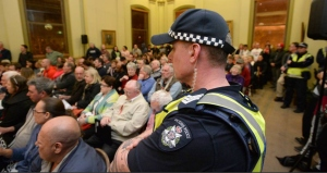 Police at Council Meeting to approve Mosque