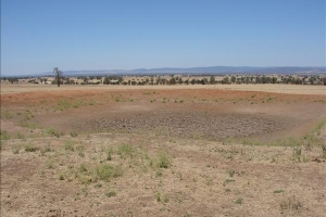 Empty farm dam in the Goulburn Valley