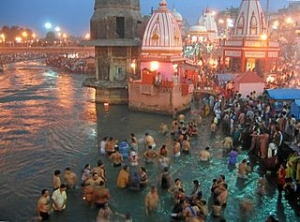 Evening prayers at Har-Ki-Pairi Ghat on Ganges River