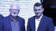 Des Cahill with Imam, Turkish Mosque, Mooroopna, Vic