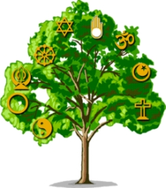 Tree with symbols of religions
