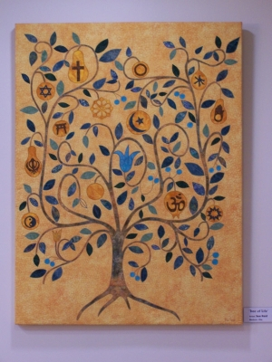 Tree of Life with symbols of religions