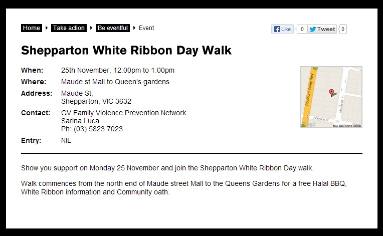 White Ribbon Day Walk, Shepparton