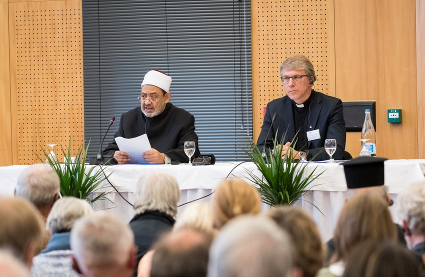 "On Saturday 1 October 2016, the World Council of Churches received H.E. Prof. Dr Ahmad al-Tayyeb, Grand Imam and Shaykh of al-Azhar al-Sharif, and the Muslim Council of Elders in Château de Bossey, Switzerland. The Grand Imam spoke on the topic ""The Responsibility of Religious Leaders for Achieving World Peace"". Words of welcome were given by WCC general secretary Rev. Dr Olav Fykse Tveit."