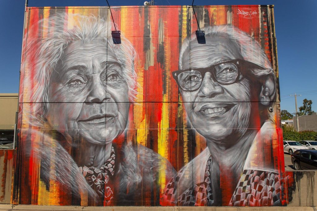 Indigenous Mural of Aunty Marge, Margaret Elizabeth Tucker with Aunty Nora, Nora Minnie Charles, Shepparton, Victoria