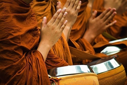 Buddhists at prayer
