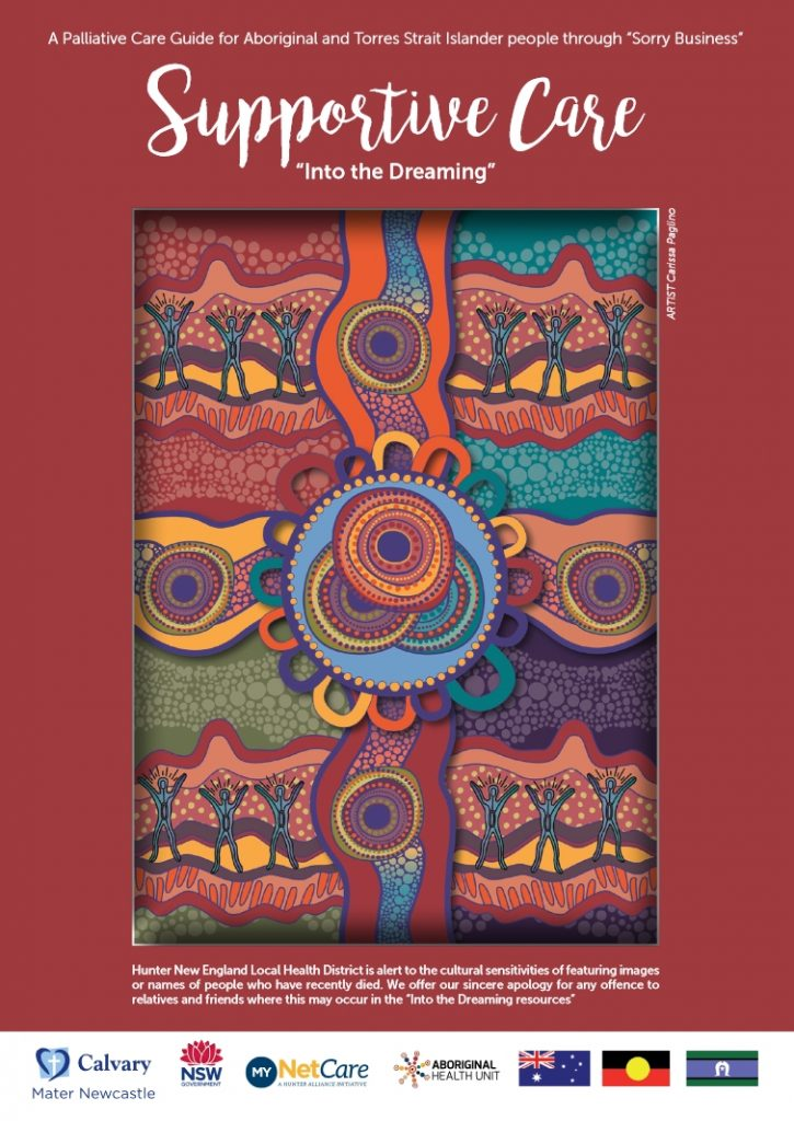 Front Cover of Into the Dreaming Pallliative Care Booklet