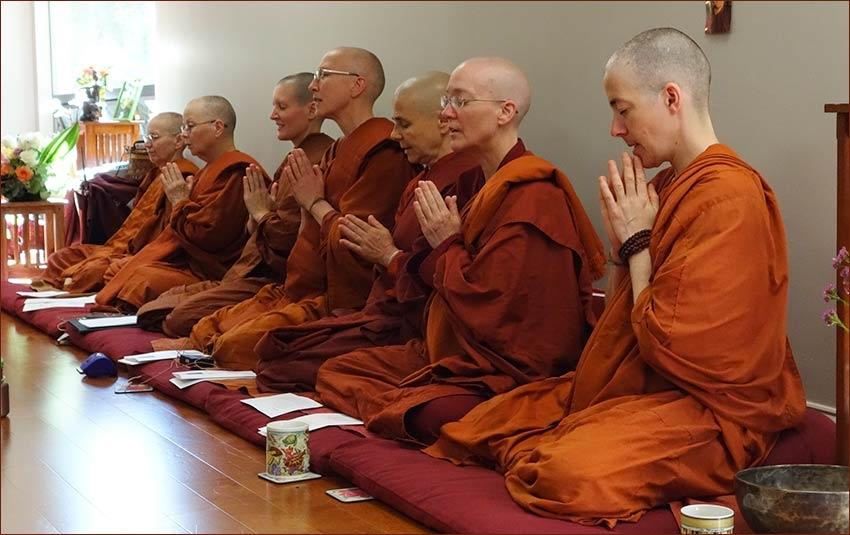 Buddhist nuns at prayer on the 6th International Bhikkuni day.