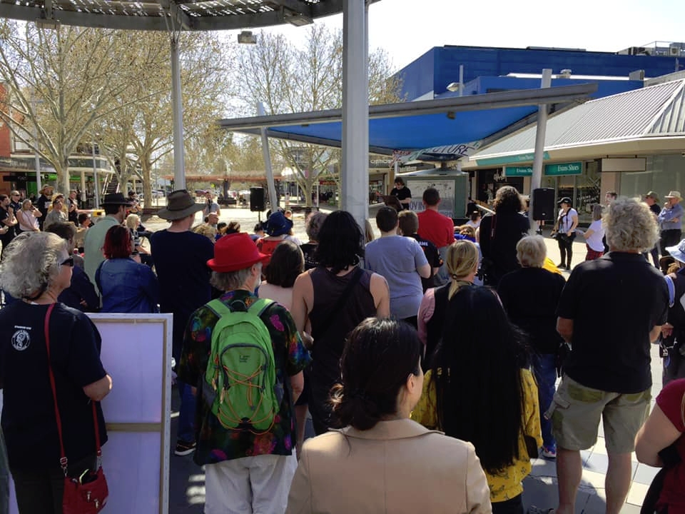 The climate strike on Friday, 20 September 2019, in Maude Street Mall, Shepparton.