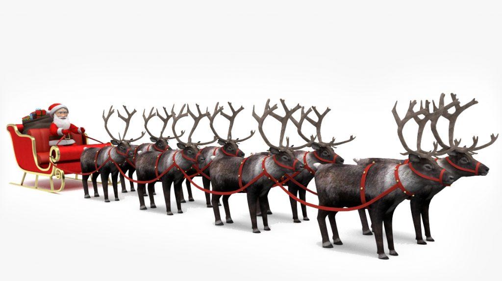 with 8 reindeer