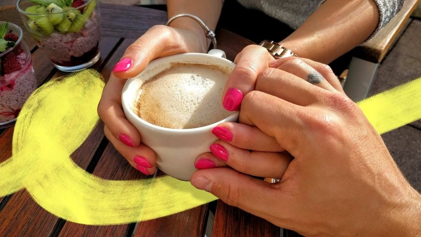 Holding hands with Latte