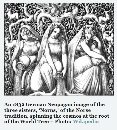 German Neopagan image of the three sisters, 'Norns,' of the Norse tradition,
