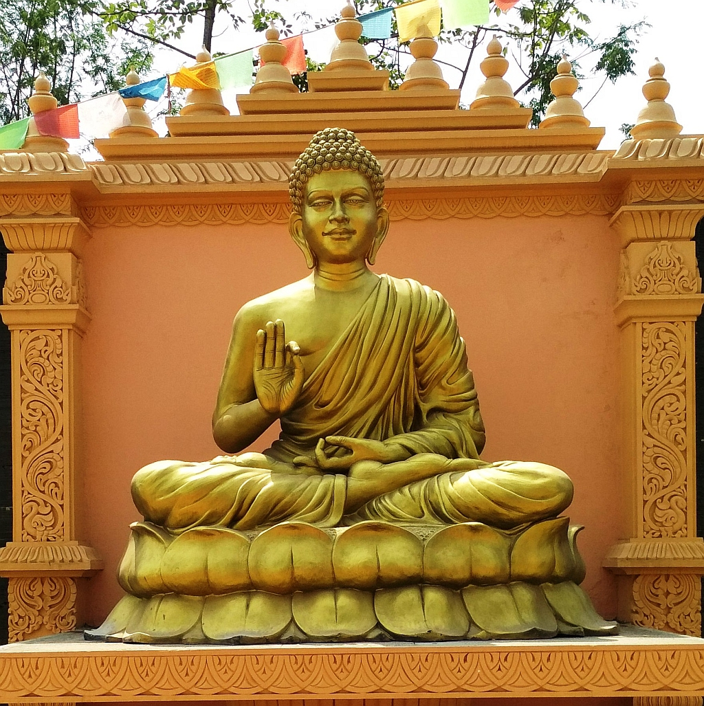 Golden statue of Lord Buddha at Shashwat Dham, Nepal