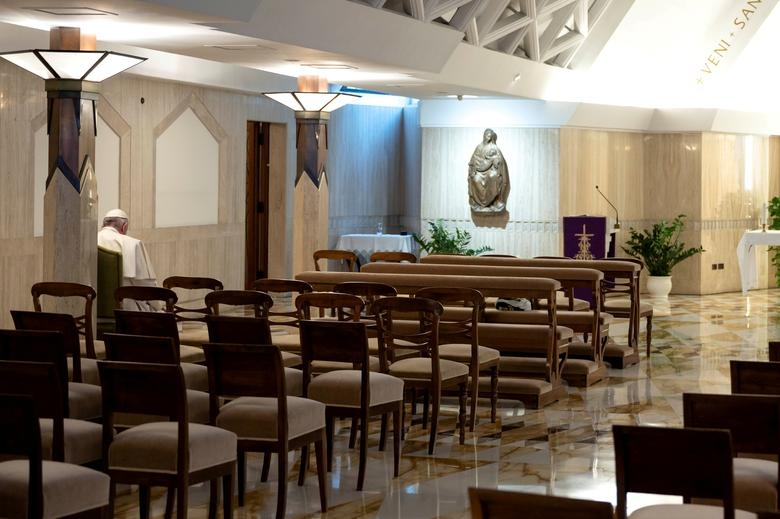Pope Francis in the chapel at Casa Santa Marta