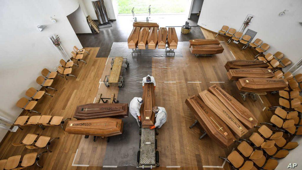 Coffins of coronavirus victims