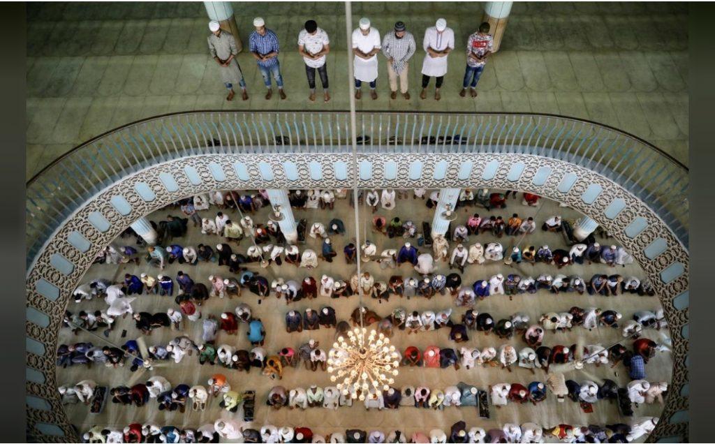 Muslims attend Friday prayer
