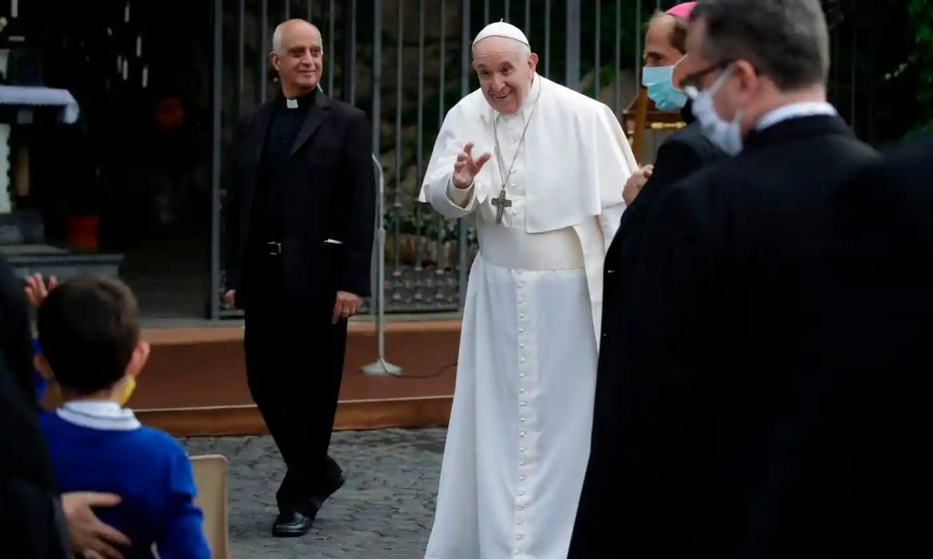 Pope Francis leaves the Vatican Gardens