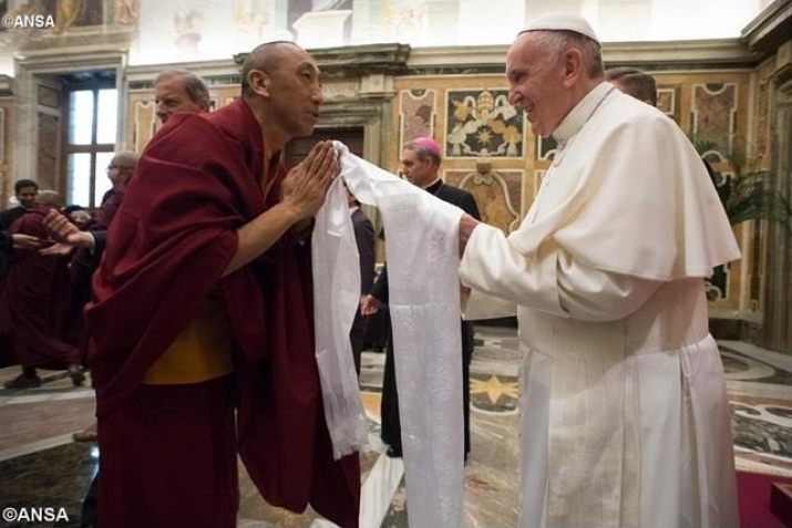 Pope Francis with Buddhist Monk