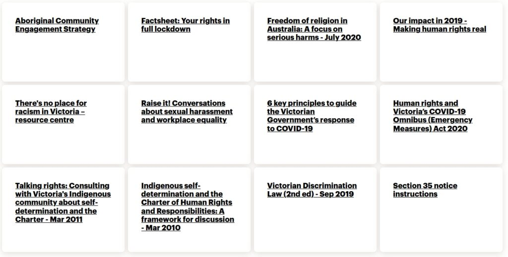 services given by the human rights commission of Victoria