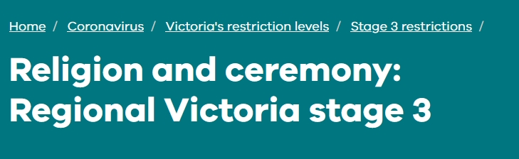 Religion and ceremony: Regional Victoria stage 3