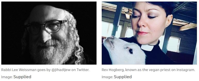 Rabbi Lee Weissman and Rev Hogberg, known as the vegan priest on Instagram.