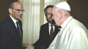 Rabbi Noam Marans shakes hands with Pope Francis