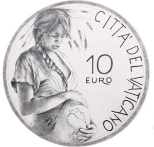 Vatican mint issuing a €10 silver coin with Mother Earth