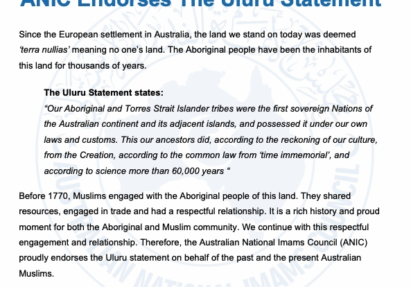 Muslims Endorse the Uluru Statement