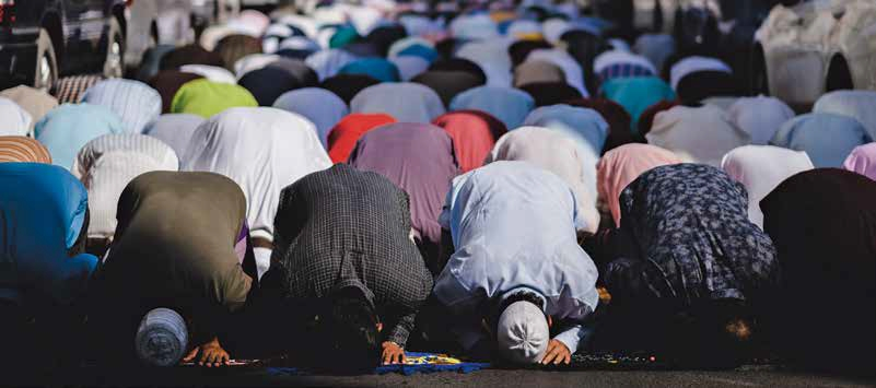 Muslims at prayer, Dubai,
