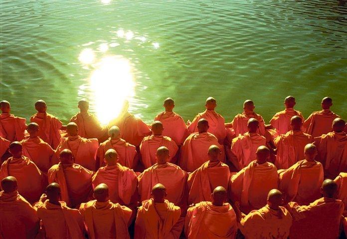 Buddhist monks at meditation